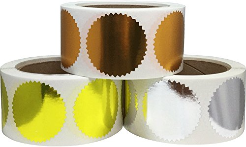 (Envelope Package Seals Serrated Edge Color Coding Labels Bulk Pack Certificate Award Stickers 3 Different Colors 2 Inch Round 1,500 Total Adhesive Stickers)
