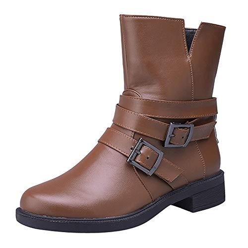 Hunzed Women Shoes Flat Leather Belt Buckle Short Tube Girl's Boots Women's Booties (Brown, ()