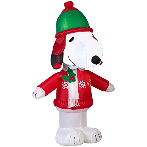 Peanuts Nativity Set Outdoor (Gemmy Airblown Inflatable Snoopy Wearing a Winter Outfit - Indoor Outdoor Holiday Decoration, 3.5-foot)
