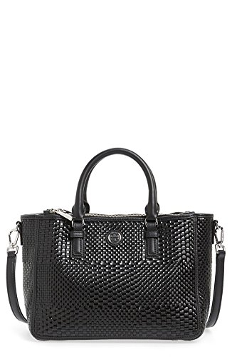 3239ea883b8 Tory Burch Robinson Double Zip Woven Leather Multi Tote Black Leather Bag   Handbags  Amazon.com