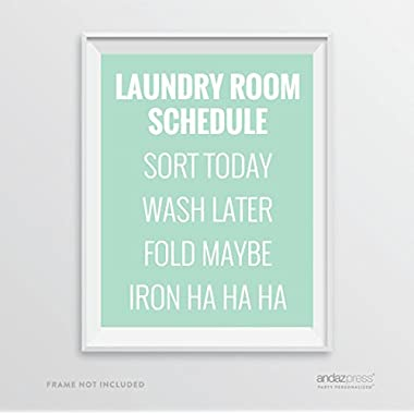 Andaz Press Laundry Room Wall Art Decor Signs, 8.5 x 11-inch Poster, Mint Green Print, Laundry Room Schedule, Sort Today, Wash Later, Fold Maybe, Iron Ha Ha Ha 1-Pack
