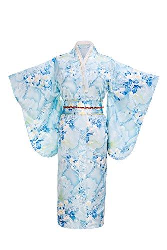 Yukata Women's Gorgeous Japanese Traditional Floral Print Kimono Robe