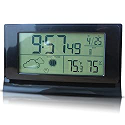 Hygrometer Thermometer, ROSKY Digital Hygrometer Thermometer Indoor Humidity Monitor with Large LCD Display and Alarm Clock for Temperature Gauge, Humidity Meter and Clock(Black)