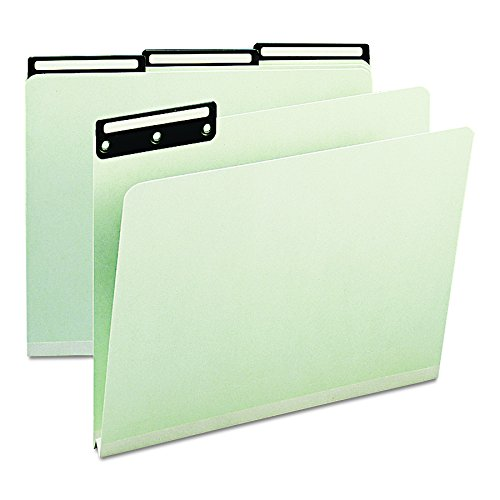 Smead Pressboard Metal Tab Folders, 1/3 Cut Top Tab, 1-Inch Expansion, Letter, Gray-Green, 25 Per Pack -
