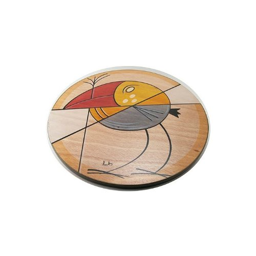 Wood Lazy Susan in Multiple Sizes with Abstract Bird Motif