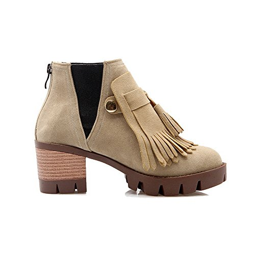 AllhqFashion Womens Kitten-Heels Solid Round Closed Toe Frosted Zipper Boots Beige vwgpKZ