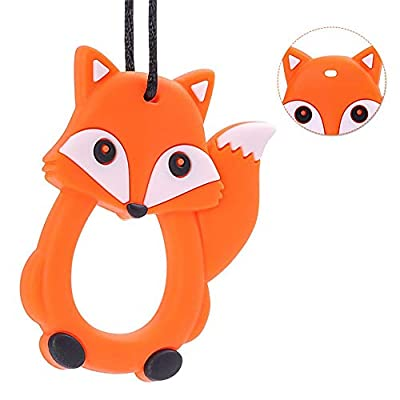 Cartoon Fox Infant Baby Teether Silicone Pacifier Soother Teething Toy Pendant (Orange) : Baby