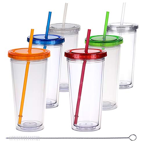 - H&F Tumblers with Lids and Straws, 22oz Double Wall Plastic Tumblers, Reusable Cup with Straw - Insulated Tumbler Bottles, BPA Free Pack of 6