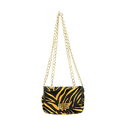 - Pietro Alessandro Tiger Print Crossbody Clutch Mini Handbag with Chain Straps
