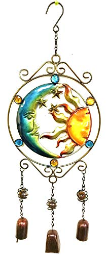 (Bejeweled Display® Moon and Sun Faces w/ Stained Glass Wind Chimes Bell)
