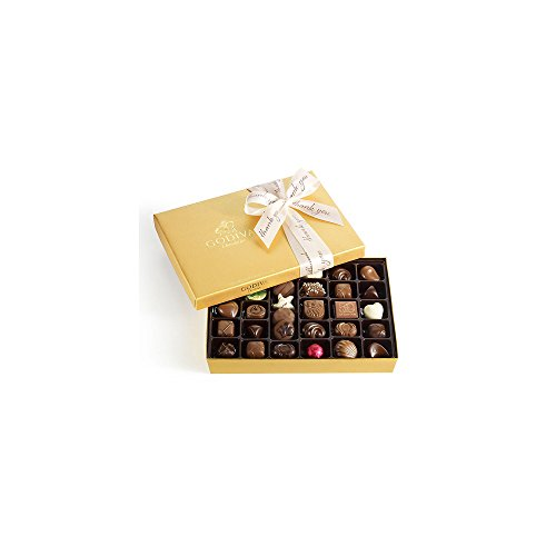 - Godiva Chocolatier Assorted Chocolate Gold Gift Box, Thank You Ribbon, 36 pc.