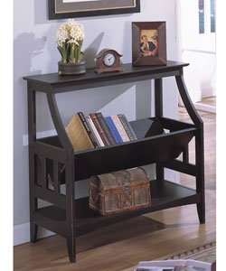 Antique Black Three Shelf Solid Wood Bookshelf Book Cases Office Furniture Living
