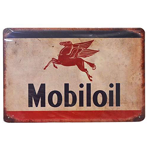 PEI's Mobiloil Retro Vintage Tin Metal Sign Wall Decor for Home Garage Bar Man Cave, 8x12 inch/20x30cm