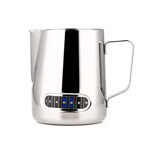 Emousport Stainless Steel Milk Frothing Jug Barista Coffee Pitcher with Thermometer -Make perfect froth for your Cappuccino Coffee 600ml - Stainless Thermometer Frothing Steel Milk