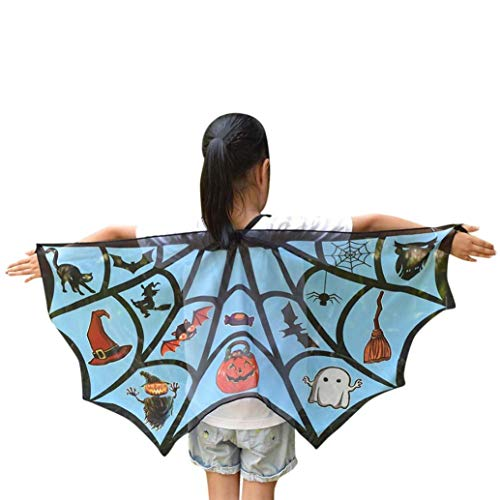 Xchenda Halloween Kids Cartoon Spider Web Prints Wings