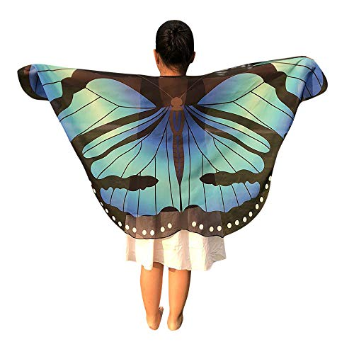 iDWZA Children Kids Butterfly Wings Shawl Scarves Wrap Capes Costume Accessory(14670cm,Sky Blue)]()