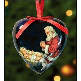 Set of 6 Heart Shaped Kneeling Adoring Santa Decoupage Christmas Tree Ornament ()