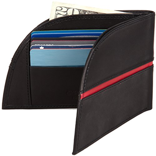 Leather Grain Line Pocket Wallet by Red Top Industries Front Wallet in Classic Black Genuine Rogue PHpxqZ