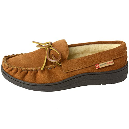 Pictures of alpine swiss Sabine Womens Genuine Suede Shearling By Alpine Swiss 4