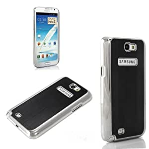 ATC Black and Silver Luxury Hard Aluminum Metal Cover Case For Samsung Galaxy Note 2 GT-N7100 Screen protector included