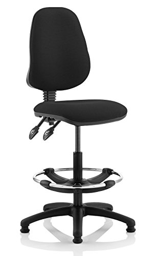eclipse 2 high back draughtsman chair in black or blue fabric by