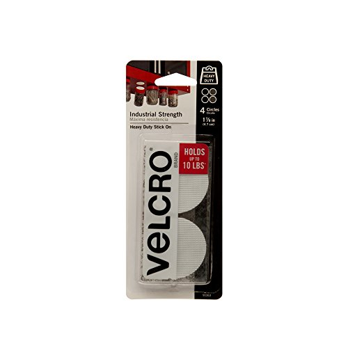 VELCRO Brand - Industrial Strength | Indoor & Outdoor Use | Superior Holding Power on Smooth Surfaces | Size 1 7/8in | Coins, White - Pack of 4