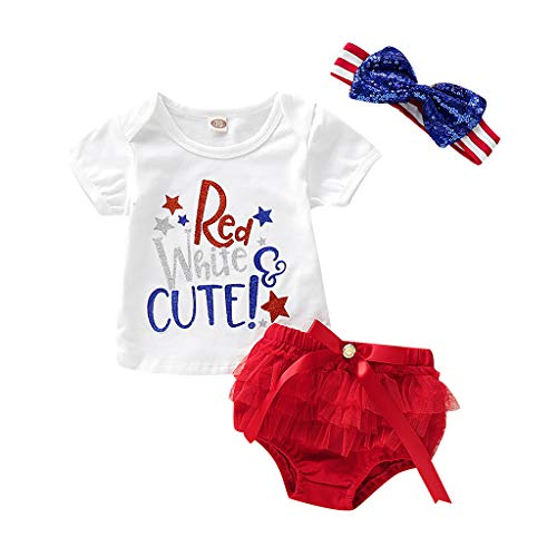 Pongfunsy Baby Clothes Toddler Kid Baby Girl 4th of July Printed T Shirt Tops+ Tulle Shorts Outfit Set Red]()