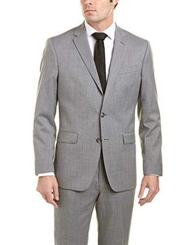 Kenneth Cole New York Men's Slim Fit Solid Suit, Light Heather Grey, 38 Short from Kenneth Cole New York