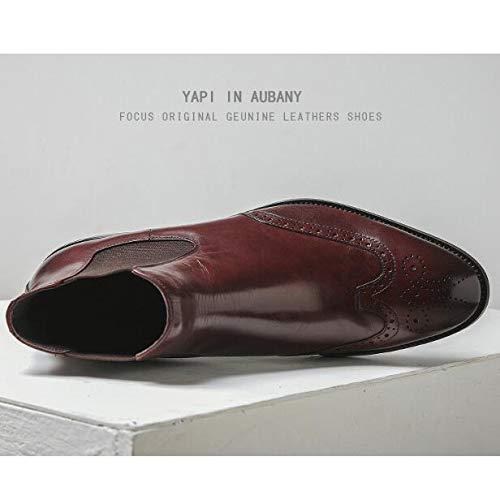 Shoes Stivaletti British High Punta in Uomo Redwine Business da A Retro Pelle Vera Top Stivaletti Chukka Martin Casual 6xnva