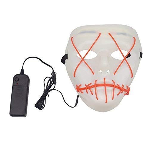 Halloween Scary Mask, Halloween Cosplay Led Costume Mask EL Wire Light Up Mask for Halloween, Festival Parties (Red)]()