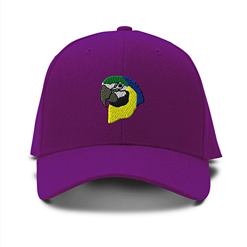 [Parrot Head Embroidery Embroidered Adjustable Hat Baseball Cap Purple] (Parrot Head Hat)