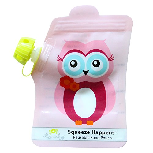 Itzy Ritzy Squeeze Happens Reusable Food Pouches, Pink Ow...