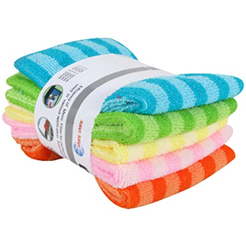 5PCS Dish Cloth Kitchen Dishcloths Microfiber Scrubbing Dish Rags Double-Sided Striped Absorbent Dish Cleaning Towels - All Purpose For Kitchen and House, Wiping Window and Car - Color as Random