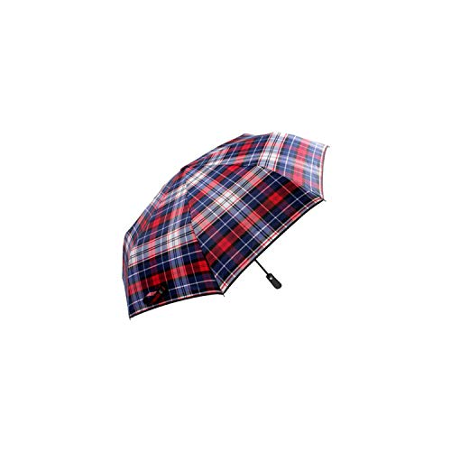 Voltage Valet Compact Travel Umbrella - Windproof, Reinforced Canopy, Ergonomic Handle, Auto Open/Close Feature for Easy use (Red Plaid)