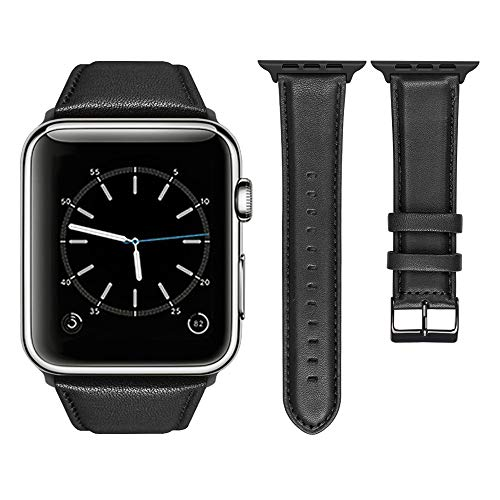 top4cus Genuine Leather iwatch Strap Replacement Band Stainless Metal Clasp, Compatible Apple Watch Series 4 Series 3 Series 2 Series 1 and Sport Edition (38mm, Matte Black)