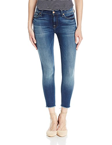 7 For All Mankind Women's The Ankle Skinny with Raw Hem, Rich Coastal Blue, 26 ()
