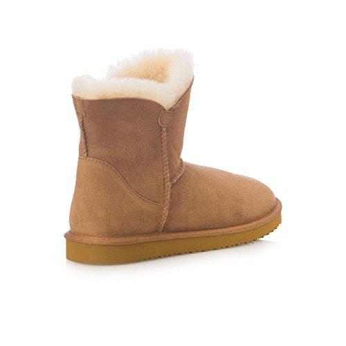 Members Mark Women Shearling Short Boot 100% Australian Sheepskin Chestnut