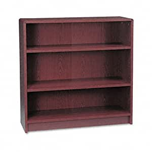 HON 1890 Series Bookcase, 3 Shelves, 36 W by 11-1/2 D by 36-1/8 H, Mahogany