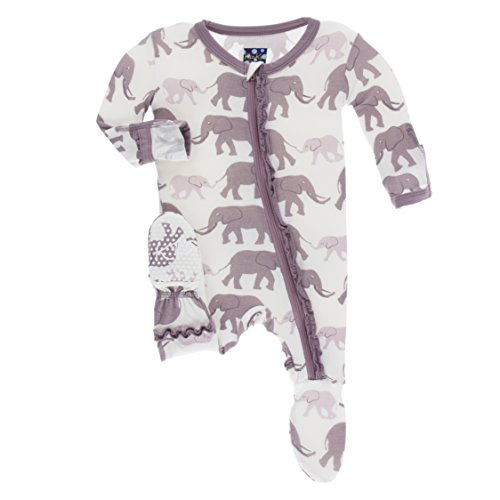 (Kickee Pants Little Girls Print Muffin Ruffle Footie with Zipper - Natural Elephants, 6-9 Months)