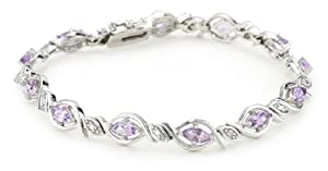 "Sterling Silver Diamond Accent and Amethyst Oval Link Bracelet, 7.25"" from Amazon Curated Collection"