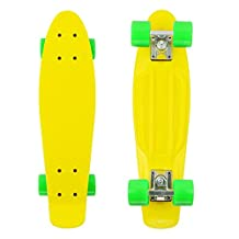 PHAT ® 22 Inch Complete Plastic Retro Mini Skateboard Cruiser Street Surfing Skate Banana Board (Yellow)