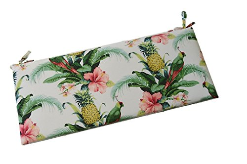 "Tommy Bahama Home Fabric - White Beach Bounty Lush Green - Tropical Bird, Pineapple, Floral 2"" Thick Foam Swing/Bench/Glider Cushion with Ties and Zipper - Choose Size (36"" x 14"")"