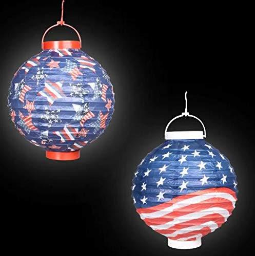 (Patriotic Paper Lantern Wind Spiral (Bonus Decor) American Red White Blue Americana Fourth of July (Set of 3))