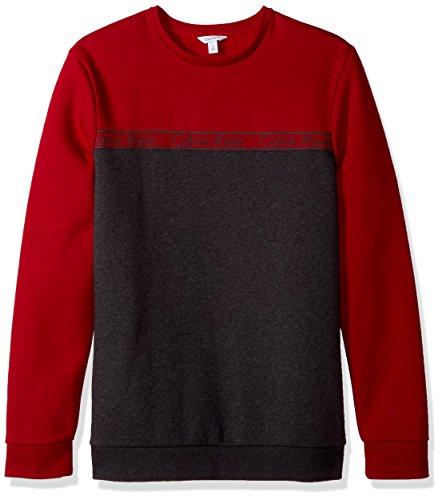 Calvin Klein Men's Long Sleeve Crew Neck Sweatshirt With Logo Tape Detailing, Jester Red Combo, 2X-Large
