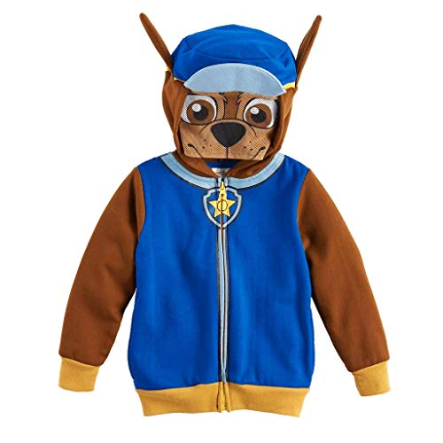 Paw Patrol Toddler Boys Hoodie Chase Face Sweatshirt Costume Zip Up, 2T