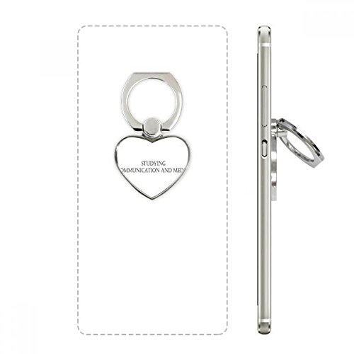 Quote Studying Communication and Media Heart Cell Phone Ring Stand Holder Bracket Universal Support Gift