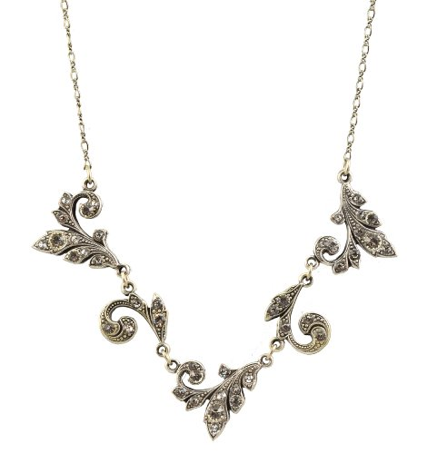 Anne Koplik Necklace, Silver Plated Swirly Ivys