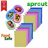 Sprout Double Layered Vegetables and Fruits Storage & Organizer net Bag/mesh Bags for Fridge, Refrigerator (Multicolor) Pack of (12)