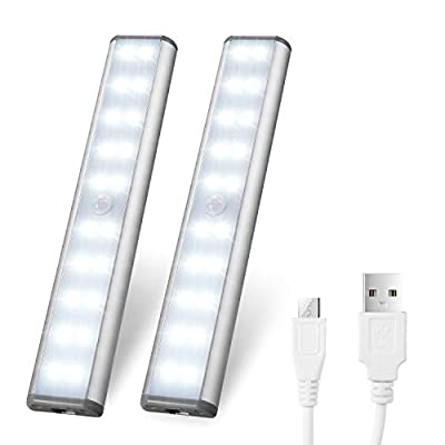 [Upgraded Version] USB Rechargeable 10 LED Motion Sensor Wardrobe Light,3 Light Modes(G,ON and OFF),Metal Aluminum Shell,Removable Stick-On Anywhere/ Wardrobe/Stairs/Cupboard ¡­