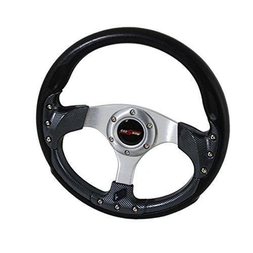 320mm 6 Bolt Steering Wheel Universal Custom + Horn Button (Carbon) Dub Custom Wheels